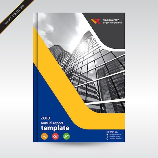 Plantilla de diseño de informe anual de portada azul y amarillo ...