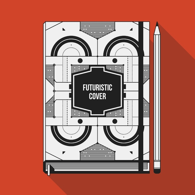Plantilla de diseño de portada de libro. maqueta del cuaderno ...