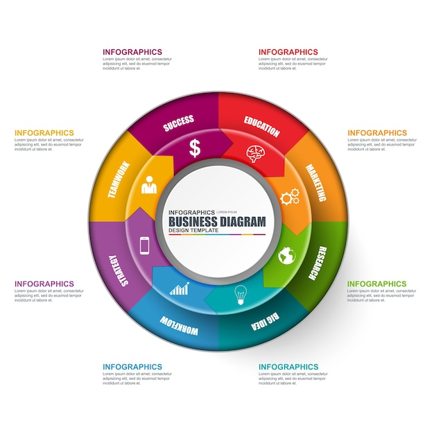 Plantilla de diseño de vector de diagrama circular de infografía. se ...