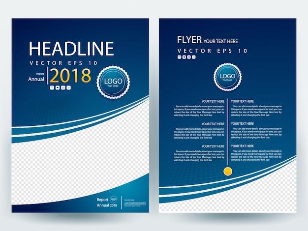 Book Cover Design Template Ai : Plantilla de diseño del folleto a azul descargar