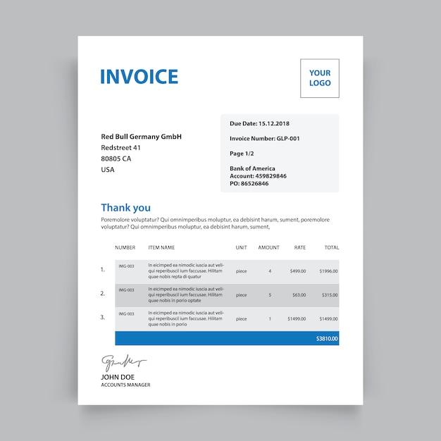 Plantilla de factura de negocios | Descargar Vectores gratis