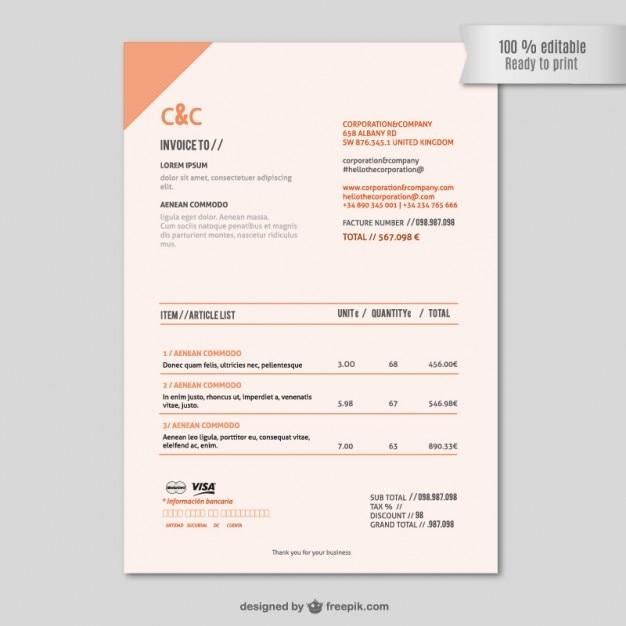 Plantilla de factura editable | Descargar Vectores gratis