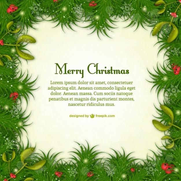 Plantilla de feliz navidad con hojas verdes | Descargar Vectores gratis