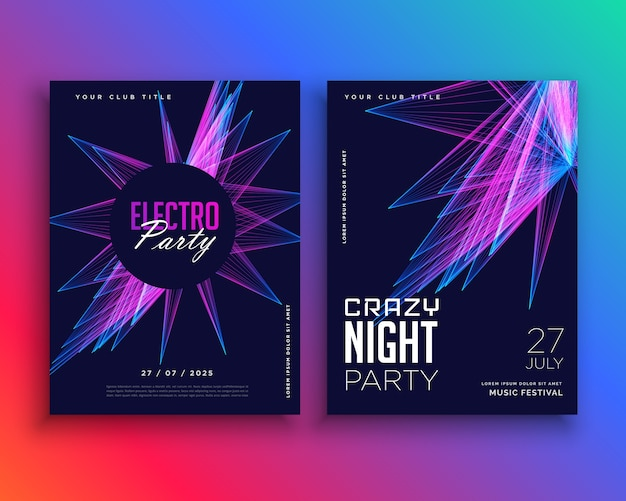 Plantilla de flyer de fiesta electrónica | Descargar Vectores Premium