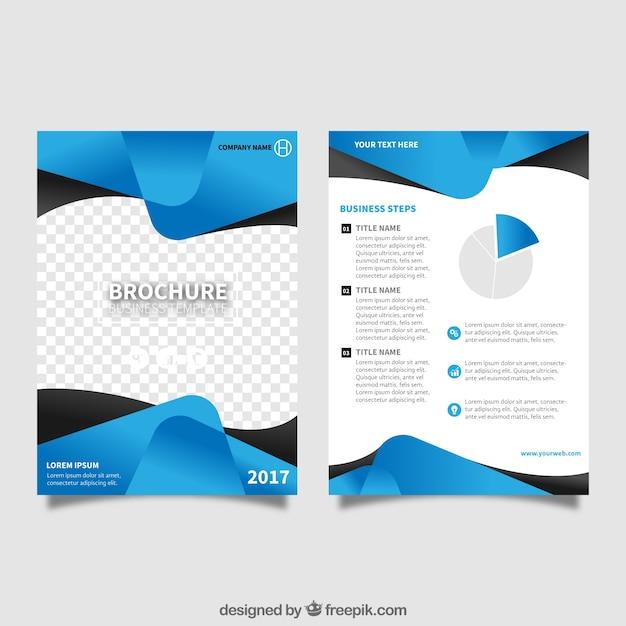 Plantilla de folleto con formas abstractas azules Vector Gratis