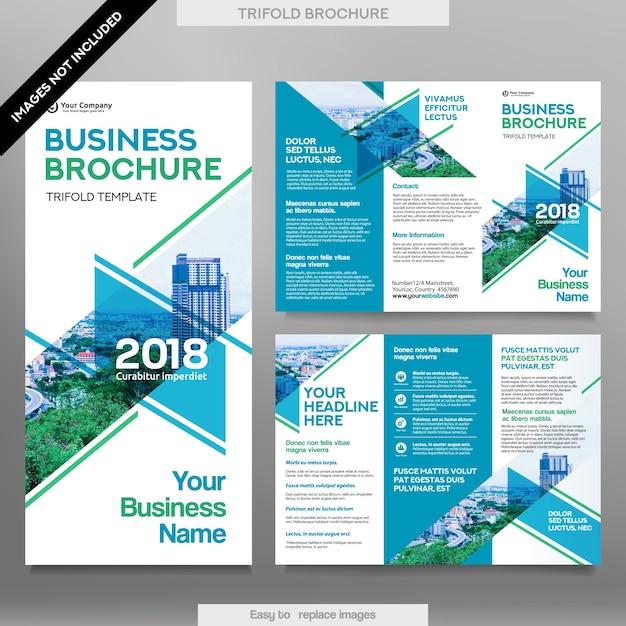 Plantilla de folleto de negocios en el diseño de tres pliegues ...