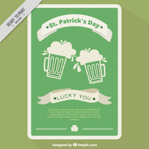 Plantilla de folleto del día de san patricio con cervezas planas ...