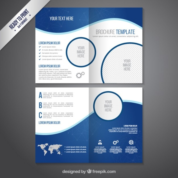 Plantilla de folleto en tonos azules descargar vectores for 4 page brochure template free