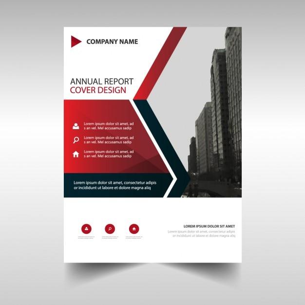 Plantilla de folleto para negocios con formas geométricas rojas Vector Gratis