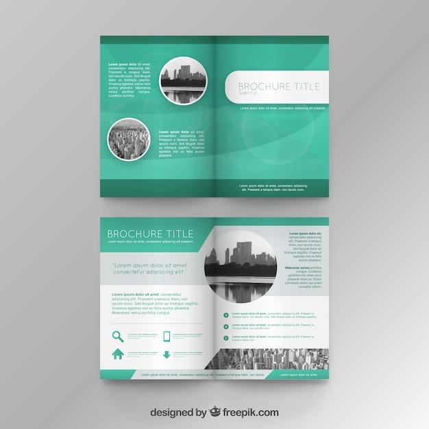 Plantilla de folleto verde Vector Premium