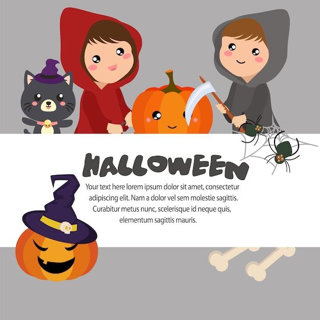 Plantilla de halloween niña de campana roja | Descargar Vectores Premium