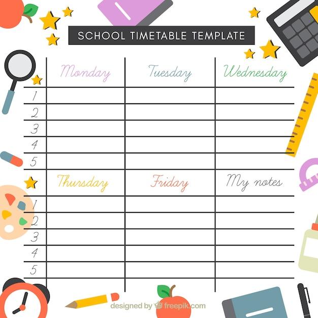 plantilla de horario escolar con elementos en dise o plano