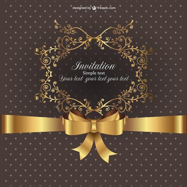 Plantilla de invitación con ornamentos dorados | Descargar Vectores ...