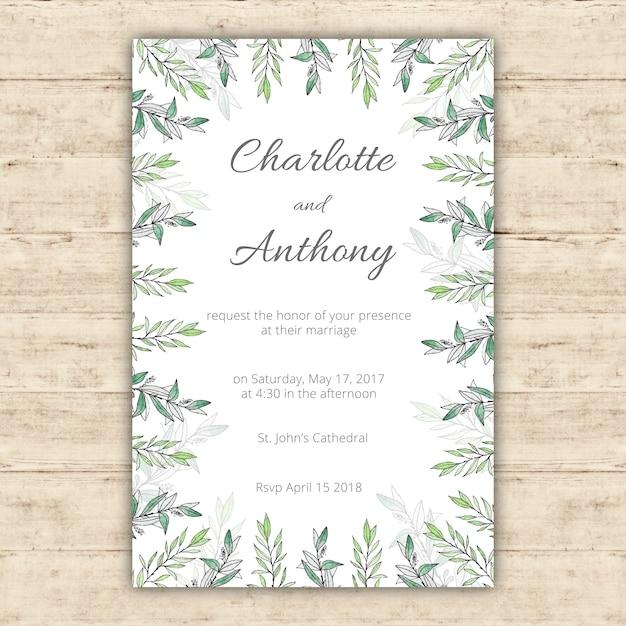 Plantilla de invitación de boda de acuarela con hojas verdes ...
