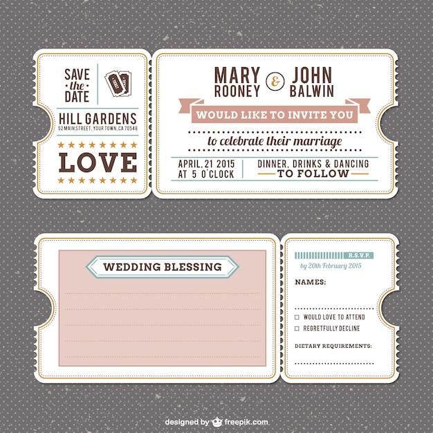 Plantilla de invitación de boda retro Vector Gratis