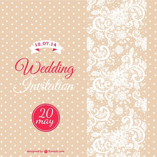 Plantilla de invitación de boda vintage color beige Vector Gratis