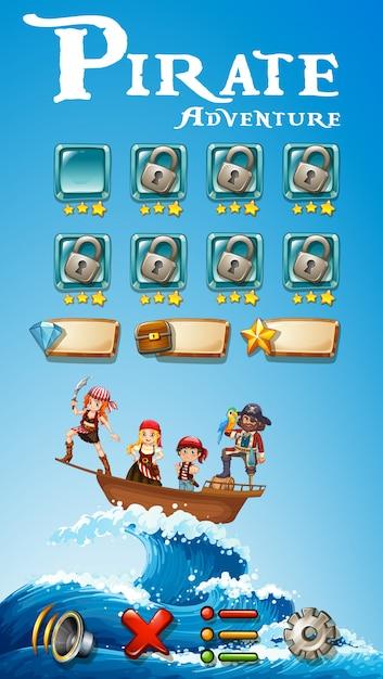 Plantilla de juego con tema pirata aventura | Descargar Vectores Premium