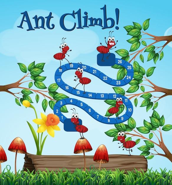 Plantilla de juego de mesa con hormigas en el jard n for Hormigas en el jardin