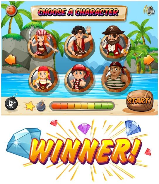 Plantilla de juego tragamonedas con personajes piratas | Descargar ...