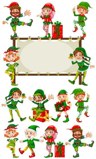 Plantilla de la frontera con los duendes de la navidad | Descargar ...