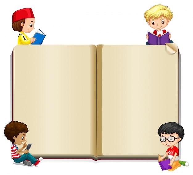 Plantilla de libro con niños leyendo | Descargar Vectores Premium