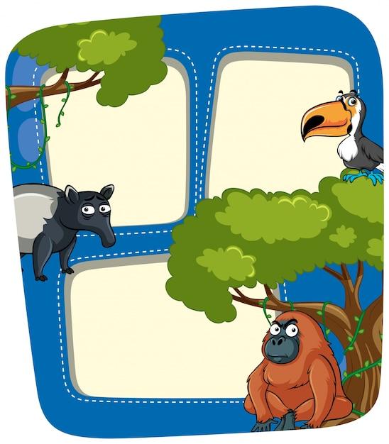 Plantilla de marco con animales salvajes en la selva | Descargar ...