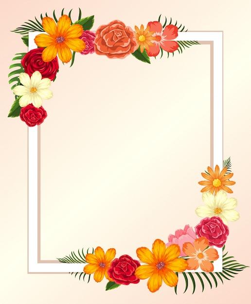 Plantilla de marco con coloridas flores y hojas | Descargar Vectores ...