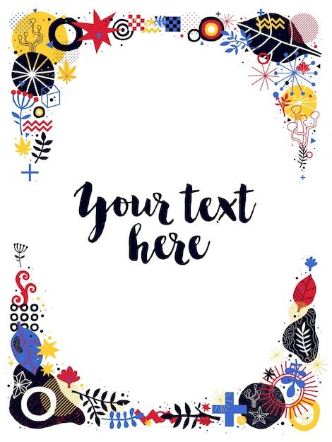 Plantilla de marco de texto vertical con elementos florales y ...