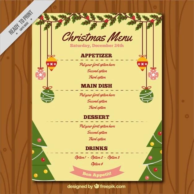 Plantilla de menu con adornos de navidad descargar - Plantillas de adornos navidenos ...