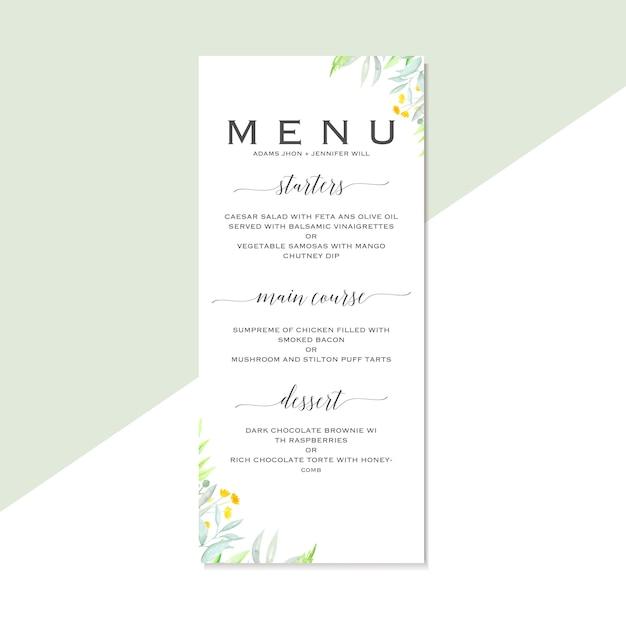 Plantilla de menú de boda con flores de acuarela dibujados a mano ...
