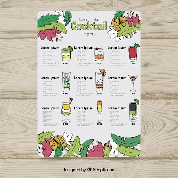 Plantilla de menú de cócteles con hojas   Descargar Vectores gratis