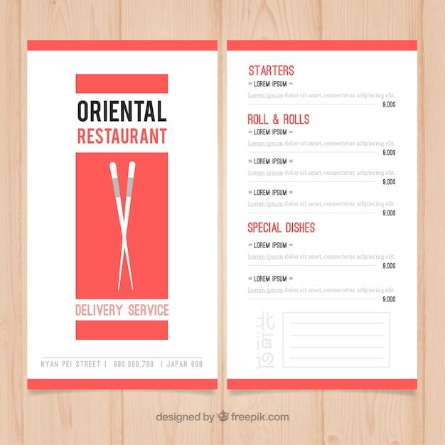 Plantilla de menú de comida oriental | Descargar Vectores gratis
