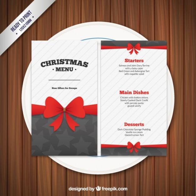 Plantilla de menú de navidad con un lazo | Descargar Vectores gratis