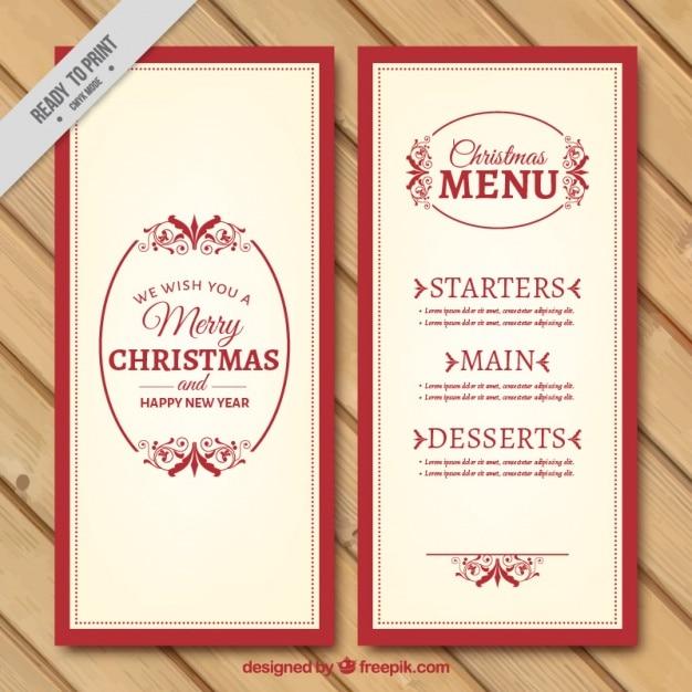 Plantilla de menú de navidad elegante en estilo vintage | Descargar ...