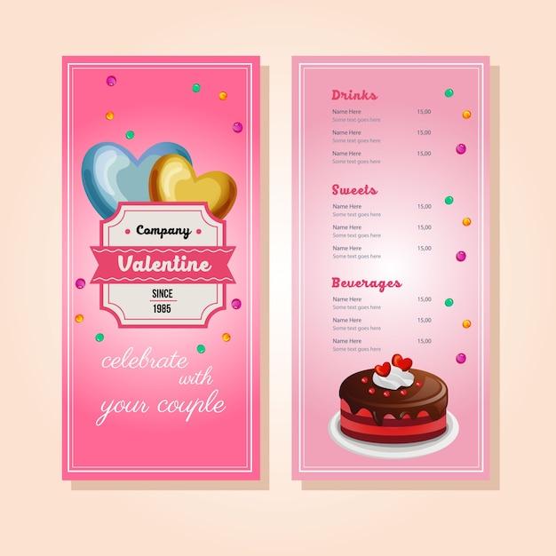 Plantilla de menú de pastel de san valentín | Descargar Vectores Premium