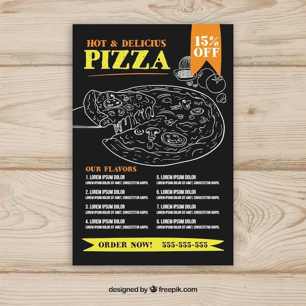 Plantilla de menú de pizza con dibujos | Descargar Vectores gratis