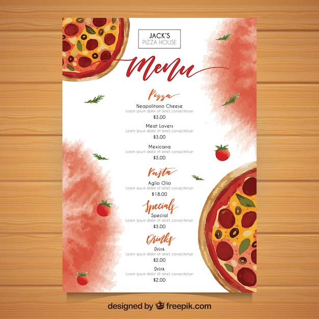 Plantilla de menú de pizza de acuarela | Descargar Vectores gratis