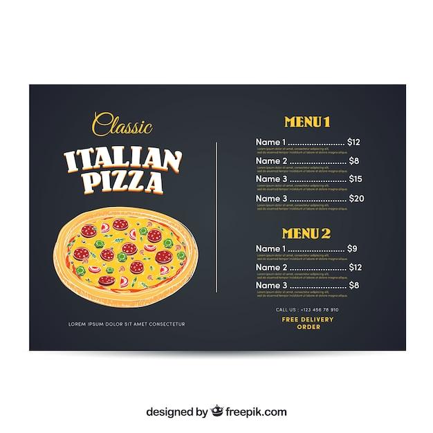 Plantilla de menú de pizza italiana | Descargar Vectores gratis