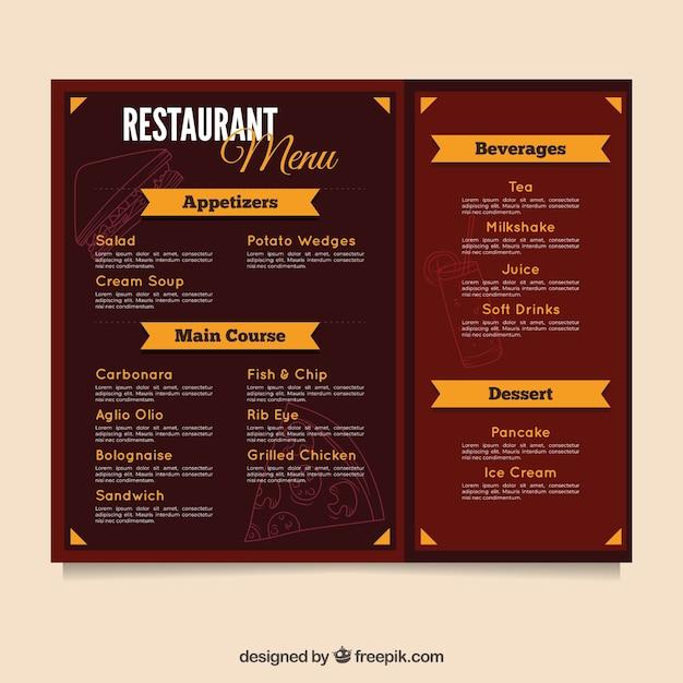 Plantilla de menú de restaurante en diseño plano | Descargar ...