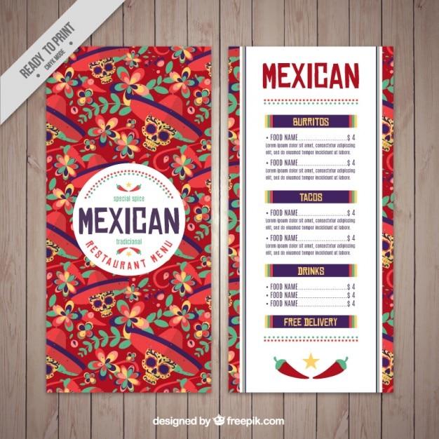 Plantilla de menú mexicano de calaveras | Descargar Vectores gratis
