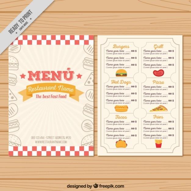 Plantilla de menú vintage dibujado a mano | Descargar Vectores gratis