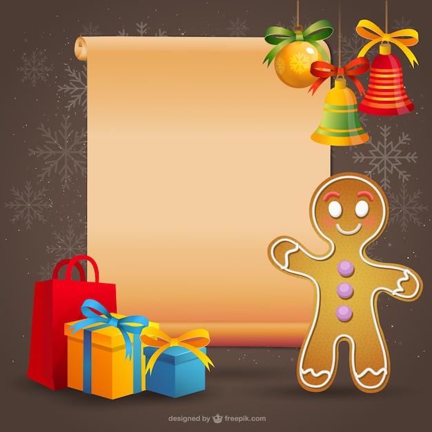 Plantilla de navidad con galleta de jengibre | Descargar Vectores gratis