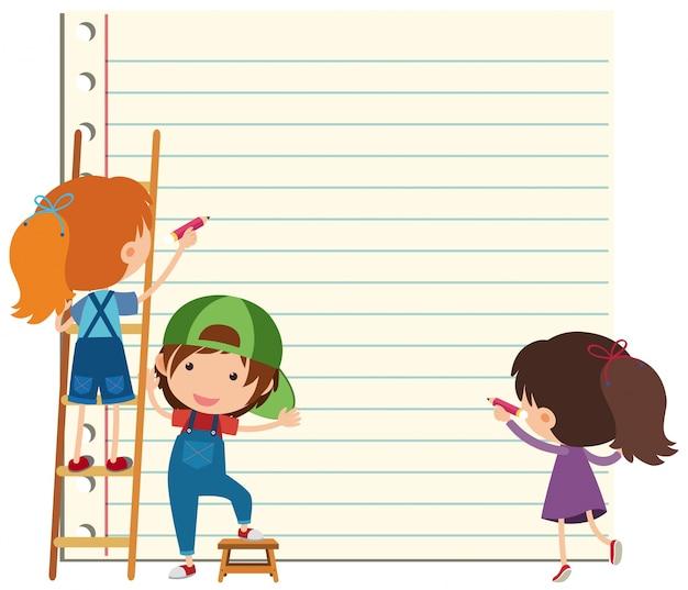 Plantilla de papel con niños felices escribiendo | Descargar ...