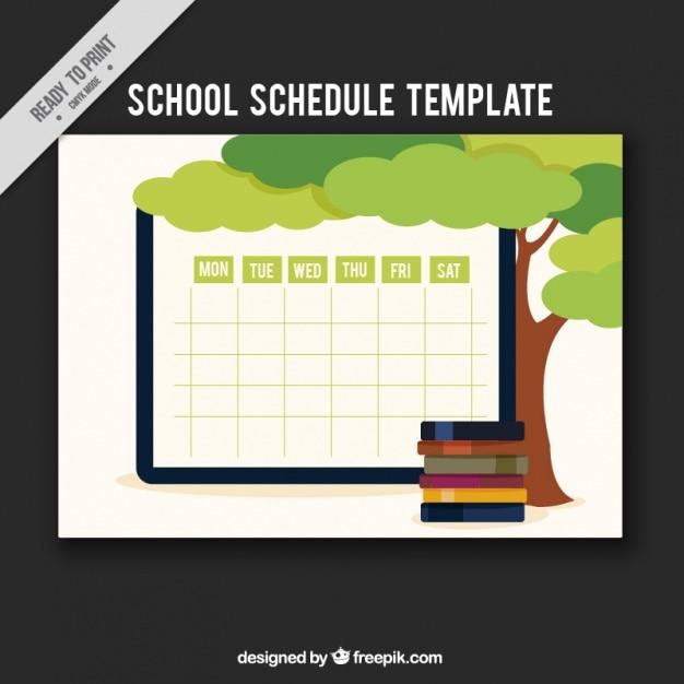 Plantilla de programación semanal con árbol y libros | Descargar ...