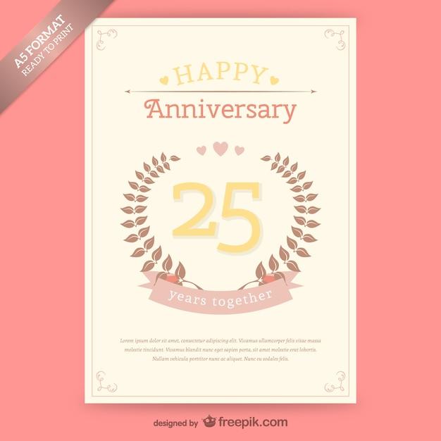 Plantilla de tarjeta de aniversario vintage | Descargar Vectores gratis