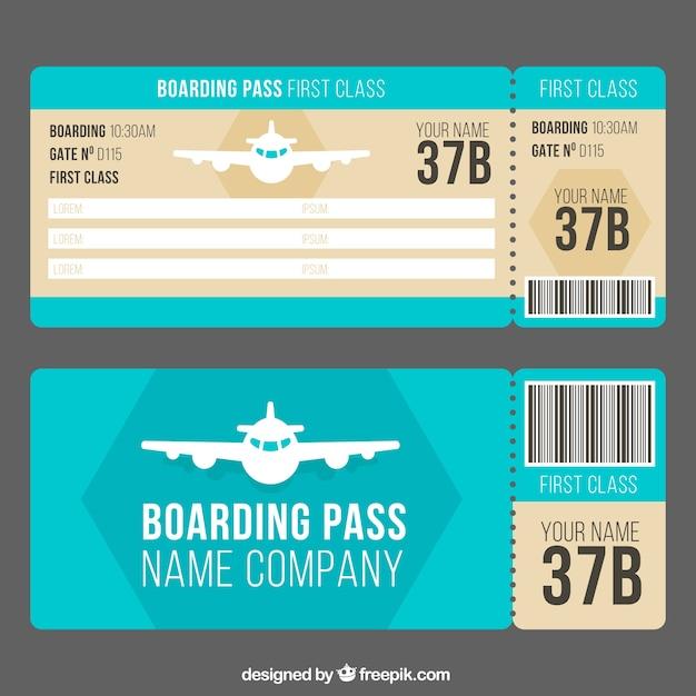 Plantilla de tarjeta de embarque con avión decorativo | Descargar ...