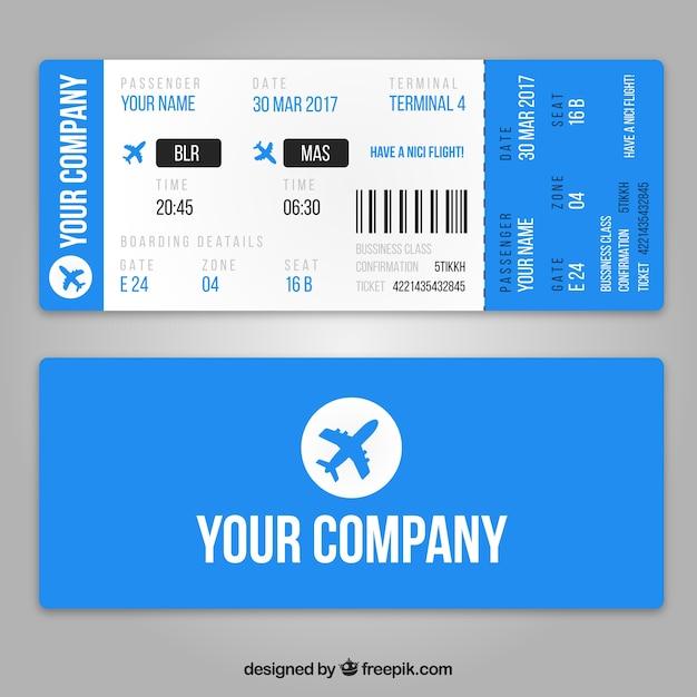 Plantilla de tarjeta de embarque realista con aviones azules ...