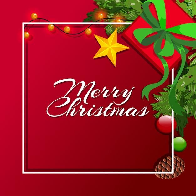 Plantilla de tarjeta de navidad con fondo rojo | Descargar Vectores ...