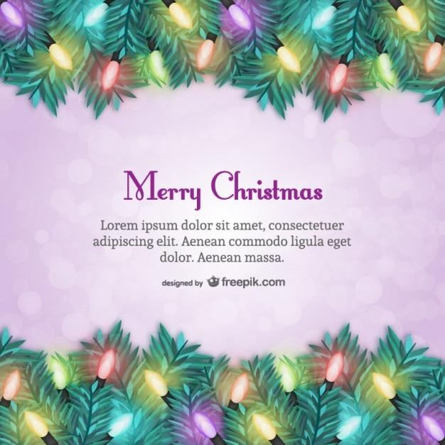 plantilla de tarjeta de navidad con luces de colores vector gratis