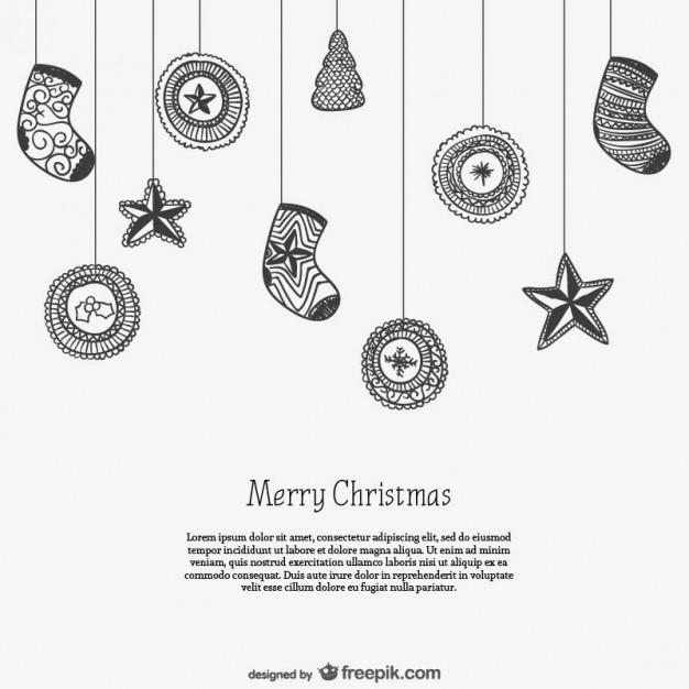Plantilla de tarjeta en blanco y negro con adornos de navidad ...
